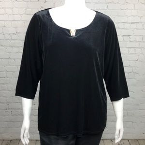 Calvin Klein Black Velvet 3/4 Sleeve Top Sz 1X 3X